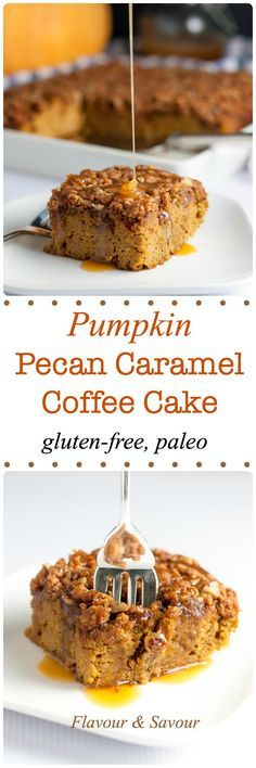 This Pumpkin Pecan Coffee Cake is topped with crunchy pecans and drizzled with caramel sauce. Made with almond flour, it's gluten-free and paleo! |www.flavourandsavour.com