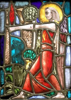 John Orval, Australia (1911 - 1987) • Stained Glass Panel - Expulsion of Adam and Eve c.1960 • Glass, stained • T.H. Taylor Bequest 1962 • 0816 #GlassArt #ArtCollection Australian Painting, Adam And Eve, Glass Panels, Asian Art, Metal Working, Stained Glass, Spiderman, Glass Art, Contemporary Art