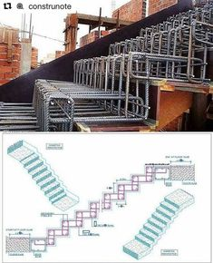 Stair Construction Instructions from Architects - Architecture & Design - Salvabrani Concrete Staircase, Staircase Design, Beton Design, Concrete Design, Stairs Architecture, Architecture Details, Structural Drawing, Civil Engineering Design, Escalier Design