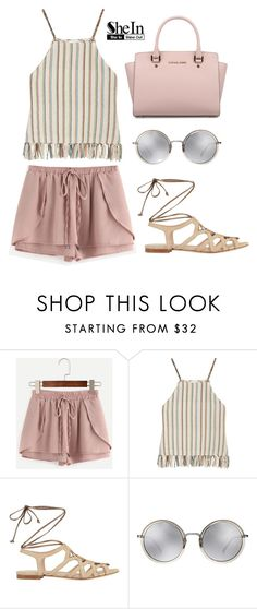 """New Shein Contest! Win Pink Shorts!"" by dora04 ❤ liked on Polyvore featuring Miguelina, Intermix, Linda Farrow and Michael Kors"