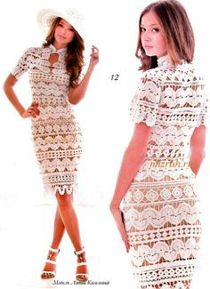 Crochet white dress ♥LCD-MRS♥ with diagram and excellent close up picture --- Crochetemoda: Vestido Branco de Crochet