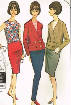 """McCall's Pattern 7615 Misses' Suit Separates Pattern Mix and Match Suit Styles Dated 1964 Factory Folded and Unused Nice Condition Overall Size 14-16 (34 to 36"""" Bust)"""