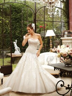 Sophia Tolli is a designer wedding dress line that features incredibly romantic wedding dresses from charming A-line silhouettes to classic high necklines. Sophia Tolli wedding dresses will make your wedding day feel even more magical. Wedding Dresses Photos, Elegant Wedding Dress, Wedding Dress Styles, Dream Wedding Dresses, Designer Wedding Dresses, Bridal Dresses, Wedding Gowns, Bridesmaid Dresses, Tulle Wedding