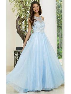 Robe de soiree glamour organza cristal sans manches