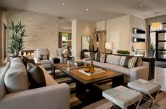 Bold and contemporary Arizona living room. Browns, grays and blacks tie this living room together seamlessly
