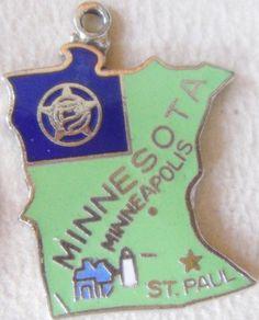 Minnesota + Minneapolis + St. Paul [state map charm / pendant]