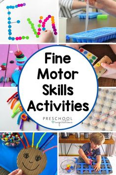 An awesome list of fine motor skills activities, especially for preschool! There are activities to strengthen the pincer grasp, work on scissor skills, and even some easy fine motor busy bags! Great for toddlers, preschoolers, parents, and teachers. Rainbow Crafts Preschool, Preschool Activities At Home, Fine Motor Activities For Kids, Sensory Activities Toddlers, Motor Skills Activities, Rainy Day Activities, Fine Motor Skills, Preschool Learning, Kindergarten Classroom