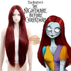 The Nightmare Before Christmas Sally Long Straight Dark Red Anime Cosp