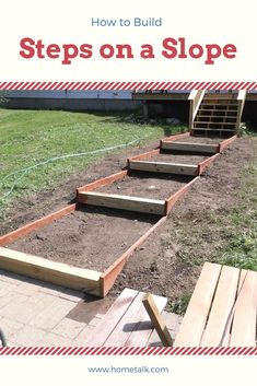 How to Build Steps on a Slope - Most people struggle with sloped backyards, but this idea is amazing—and it takes just 2 days! (Garden Step On A Slope) Concrete Backyard, Backyard Patio, Backyard Ideas, Garden Ideas, Concrete Stairs, Small Garden On A Slope Ideas, Fence Ideas, Decking Ideas, Bed Ideas