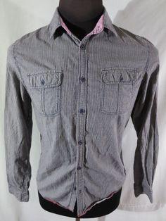 #Buffalo David Bitton Shirt Medium Striped Premium Pink Contrast Collar #BuffaloDavidBitton #ButtonFront #fashion #style