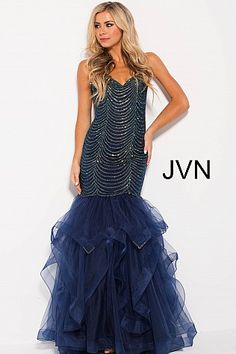 Navy Embellished Tiered Mermaid Prom Dress JVN60604 #JVN #mermaiddress #promdress #formal