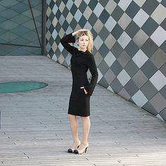 Pencil dress casual black dress midi day to day dress by ADORIQUE