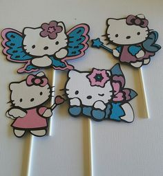 Hello Kitty cupcake toppers made with Hello Kitty font cartridge