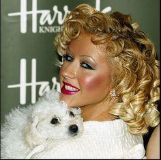 Christina Aguilera and Her Bichon Frise