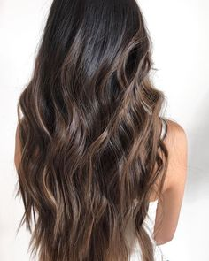 Long Wavy Ash-Brown Balayage - 20 Light Brown Hair Color Ideas for Your New Look - The Trending Hairstyle Brown Hair Shades, Light Brown Hair, Brown Hair Colors, Black Hair With Brown Highlights, Black Brown Hair, Caramel Highlights On Dark Hair, Long Brown Hair, Color Highlights, Hair Colour