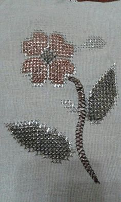 'Telkırma' (or: Bartın işi = work from Bartın): folding thin silver slat into the fabric, creating two identical sides.