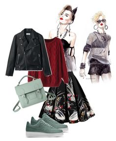 A fashion look from March 2018 featuring burgundy shirt, studded leather jacket and pleated a line skirt. Browse and shop related looks. Nike, Shoe Bag, Polyvore, Stuff To Buy, Shopping, Collection, Design, Women, Fashion