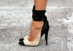 Ankle cuff pumps.