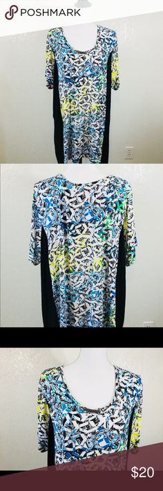 """Avenue Tunic Top Blouse Womans Plus  Shark Bite Avenue Tunic Top Blouse Womans Plus Size 26/28 4X Black Blue White Yellow and Green Shark Bite Career Metal Rhinestone look piece at neckline  Length: 33"""" Underarm to Underarm: 26"""" Avenue Tops Blouses"""