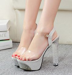 Crystal Heel Pumps Platform Stiletto High heels Open Toe Shoes Transparent Strap