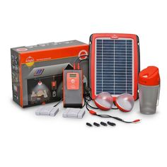 Amazon.com : d.light D20 Solar Home System Kit : Lighting Products : Patio, Lawn & Garden.       Solar 5W Panel with a 6m wire     Power Pack capable of dual charging (solar or AC)     2 Fixed lamps & wall switches; 1 x 8m wire, 1x4m wire provide grid-like experience     Portable lantern provides extra flexibility     USB output connector & Six Adaptors