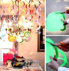 Spiral Streamers – DIY Party Decor (each spiral is cut from an 8 x piece of card stock or heavy construction paper) Party Animals, Animal Party, Diy Party Decorations, Birthday Decorations, Diy Decoration, Cumpleaños Diy, Easy Diy, Diy Adornos, Party Planning