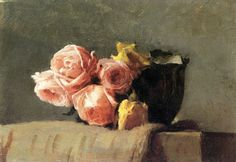 Yellow and Pink Roses - Dennis Miller Bunker 1886  Impressionism