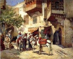 Mercado En El Norte De África Orientalismo Pintura Al óleo : LP08478 : $179.00