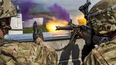 Soldiers return fire while conducting a town-defense scenario during Saber Junction 17 at the Hohenfels Training Area Germany May 15 2017. (5760x3240)
