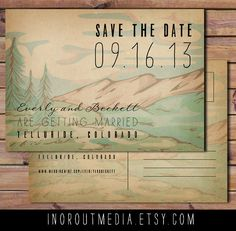 THIS but with Mt. Diablo...  this bridey bride needs to get out her water colors. Rustic Save the Date Card Mountains Trees Forest by inoroutmedia.