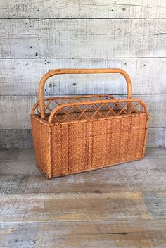 Magazine Rack Mid Century Wicker Magazine Holder Rattan Newspaper Holder  Wicker Basket Bamboo Magazine Rack Album