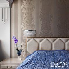 Dormitório com décor luxuoso composto por paleta em tons neutros