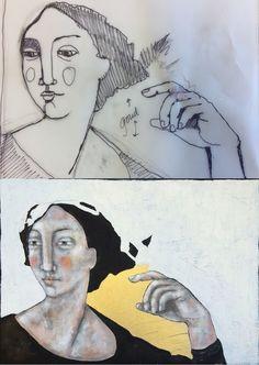 Sketch of the painting 'Fabulation' - Schets van het schilderij 'Fabuleren'. |post by Anneke| #art #dutchart #painting #kunst #schilderij #portrait #picasso #matisse #klimt #sketch