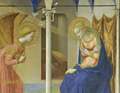 Fra Angelico - 1455 The Annunciation Museo Nacional del Prado, Madrid. Fra Angelico, Catholic Religion, Catholic Art, Italian Renaissance, Renaissance Art, Tempera, Art Du Monde, Mickey Mouse Art, Time Painting
