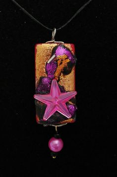"""Bamboo Tile Pendant """"Pink Volcanic Beach Star"""" Tones of Copper Black Magenta Tile Crafts, Handcrafted Jewelry, Unique Jewelry, Star Jewelry, Recycled Art, Magenta, Whimsical, Bamboo, Copper"""