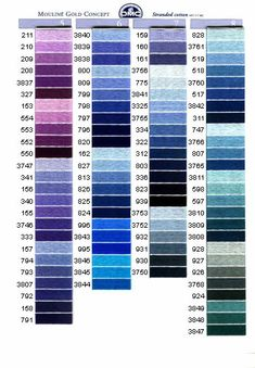 dmc - the purples and blues Cross Stitch Thread, Cross Stitch Charts, Cross Stitch Designs, Cross Stitching, Cross Stitch Patterns, Diy Embroidery, Cross Stitch Embroidery, Cross Stitch Tutorial, Crochet Cross