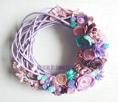 Painted Purple Twisted Twig Grapevine Felt by WreathsByEmmaRuth