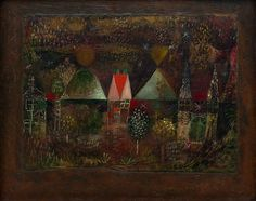 Collection Online | Paul Klee. Night Feast (Nächtliches Fest). 1921 - Guggenheim Museum  Oil on paper, mounted on cardboard painted with oil, mounted on board sheet: 14 1/2 x 19 5/8 inches (36.9 x 49.8 cm); mount: 19 3/4 x 23 5/8 inches (50 x 60 cm)