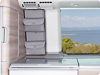 """UTILITY for the small kitchen window VW T5 California, """"Leather Classicgrey""""."""