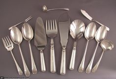 Browse our extensive selection of Birks Sterling Saxon Pattern Flatware in our Open Stock category. Vintage Birks sterling flatware in superb condition Sterling Silver Flatware, Silver Spoons, Silver Serving Trays, Gorham Sterling, Forks And Spoons, Aesthetic Movement, Flatware Set, Scrap, Antiques