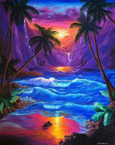 Shop for sunset art from the world's greatest living artists. All sunset artwork ships within 48 hours and includes a money-back guarantee. Choose your favorite sunset designs and purchase them as wall art, home decor, phone cases, tote bags, and more! Fantasy Landscape, Landscape Art, Fantasy Art, Sunset Art, Sunset Canvas, Beautiful Nature Wallpaper, Tropical Art, Landscape Wallpaper, Surf Art