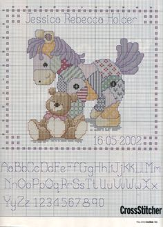 Cross-stitch Patchwork Pony & Teddy Bear Baby Announcement, part 2... no color chart available, just use the pattern chart as your color guide.. or choose your own colors...