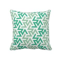 green and white pillows | Green and White Geometric Pattern Throw Pillow