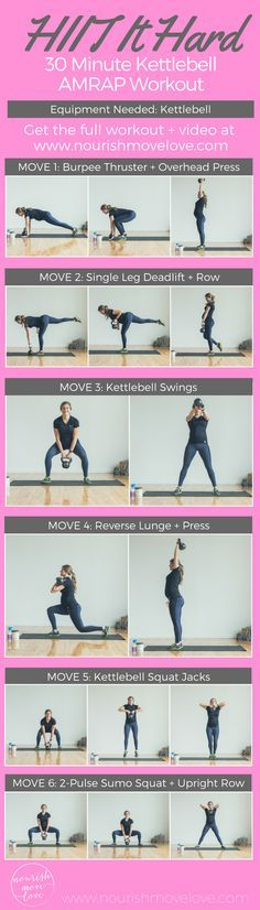 Home or gym, this 30 minute kettlebell workout will give you a total body sweat! See the website for full workout + video. Challenge yourself and use a heavy kettlebell or dumbbell. Burpee thruster, overhead press, deadlift, kettlebell swings, lung, squat