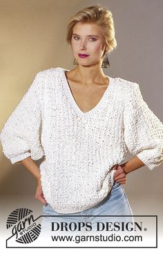 DROPS - Pull raglan Drops en Embrezza, bordures en Zebrino - Free pattern by DROPS Design Sweater Knitting Patterns, Cardigan Pattern, Knit Patterns, Free Knitting, Drops Design, Raglan, Free Pattern, Knit Crochet, Sweaters For Women