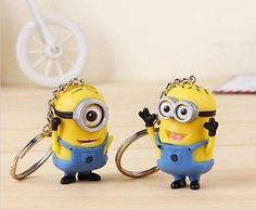 2pcs Despicable Me Minion Toy Keyring Key Chain 3D Eyes Stuart Jorge NEW