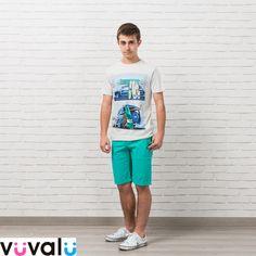 Bonita  camiseta Mayoral de niño junior con print playero que combina con   bermuda de color verde claro 00e44375fecbd