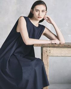 Navy loose cut dress in classy style. Counting down the days until we launch our new collection, Dreamscape  Minimal fashion | Sustainable fashion designers | Ethical sustainable fashion | sustainable fashion ideas