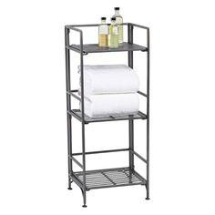 """3-Shelf Iron Folding Bookcase Pewter 12-3/4"""" x 11-1/4"""" x 31-1/8"""" h $60"""