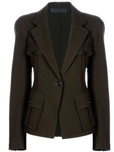 ffefc820df64f Green wool blend blazer from Donna Karan military jacket. Military Style  Jackets